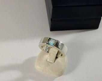 17.2 mm ring 925 Silver solid aquamarine SR1011