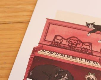 Animal Piano Greeting Card (3 for 13.50 dollars)