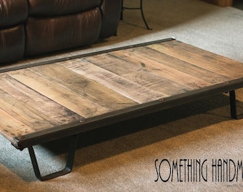 Industrial coffee table  from 1930s iron and oak  railroad pallet 100% Original
