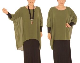 GR100 dress layered look asymmetrical Gr. 38-46 black/taupe