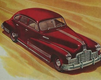 1946 Red Pontiac Silver Streaks Ad, Magazine Print Page, Vintage Card Ad,Vehicle Car, Classic Car Ad, Automobile Print Ad, Man Cave Art,