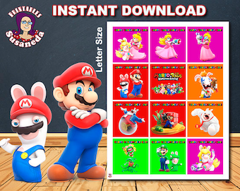 MARIO and Rabbids VALENTIN TAGS, Super Mario Valentine Day Tags, Instant Download