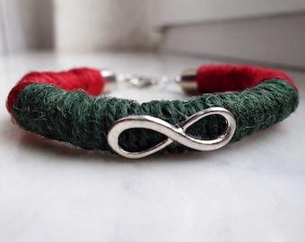 Infinity Bracelet, Natural Jute Vegetable Fiber, Valentine's Gifts, Infinity Jewelry, Bracelet, Eco Jewelry