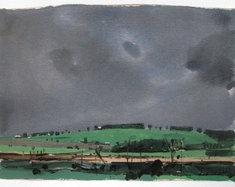 May Rain, Original Spring Landscape Painting on Paper, Stooshinoff