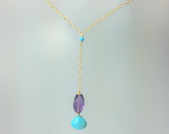 Sleeping Beauty Turquoise and Amethyst Lariat Drop Pendant on Gold filled Chain