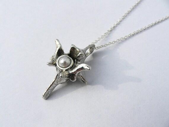 Silver & White Pearl Rattlesnake Vertebra Necklace