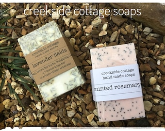 Lavender Fields and Minted Poppyseed Rosemary Goat Milk Soaps, Two Bars