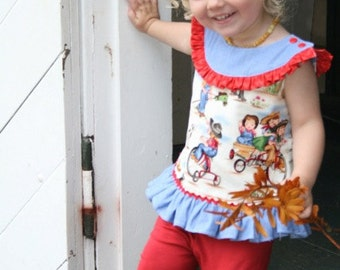 SALE....Buy 2 get 1 Free....Instant  Download PDF Sewing Pattern Cassidy Girls Round Neck A Line Top Dress 6-12m to 8