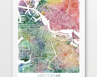 Amsterdam City Urban Map Poster, Amsterdam Street Map Print, Amsterdam Watercolor Netherlands, Modern Wall Art, Home Decor, Printable Art