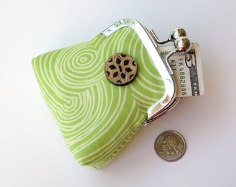 Lime green and chartreuse coin purse...unique carved horn button...holds keys jewelry medication change...organic cotton fabrics...last one!