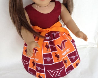 18 inch Doll Dress using Virginia Tech fabric,  made to fit 18 inch dolls such as American Girl and similar 18 inch dolls