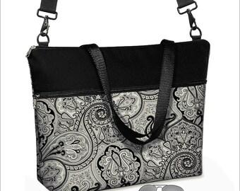 17 inch Laptop Bag avail w/ long cross body strap / Paisley Laptop Tote Bag / Women's Briefcase / Pockets,  Zipper black white gray   MTO