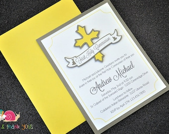 First Holy Communion Invitations · A2 LAYERED · Sunshine Yellow and Gray · Cross | Banner