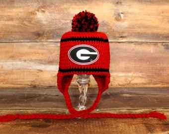 Georgia Bulldogs Stocking Hat - Newborn 0-3 mo 3-6 mo 6-12 mo Toddler Child infant earflap hat cap GA Bulldogs hat beanie