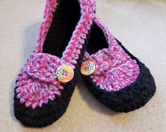 Mary Jane Slippers w/ Button