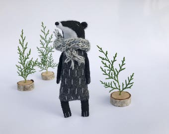 Badger Toy In A Knitted Scarf, Badger Stuffed Animal, Badger Gift, Honey Badger Toy, Felt Animal Toy, Woodland Animals, Stuffed Toys