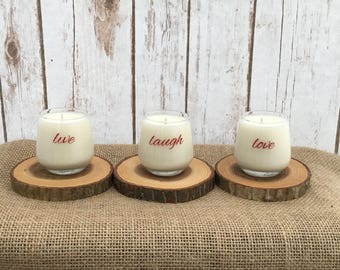 Ready to ship // Votive Soy Candles // Live Laugh Love // Love Spell scent