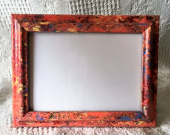 Fiesta Collection- Acrylic Paint with Glossy Overlay, Hand Painted Picture Frame for One 5x7 Photo