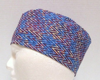 Mens or Unisex Surgical Scrub Hat or Surgery Cap Blue and Red Tribal Chevrons