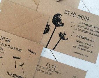 rustic wedding invitation suite/ set, boho wedding, bohemian wedding, simple, classic, romantic, rustic