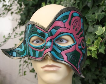Green, Blue, Pink and Gold Leather Octopus Mask, Masquerade Octopus Mask, Octopus Cosplay Mask, Sea Life Mask