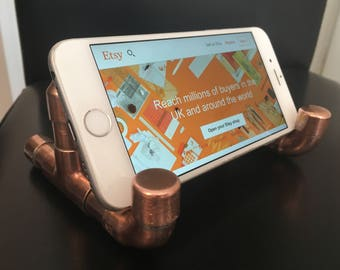 Copper phone stand, copper pipe, hands-free phone stand, industrial look, office, phone accessory, handmade
