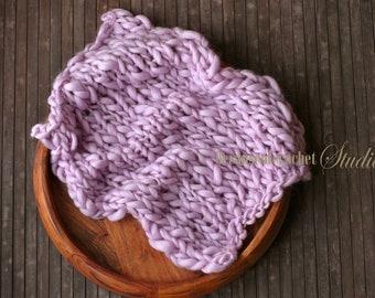 Bulky Newborn photo prop knitted layer. Handspun knitted Chunky baby prop blanket. 100% superfine australian merino wool. Ready to ship.