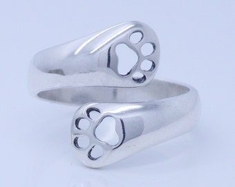 Kitty Cat Paws Sterling Silver Adjustable Spoon Ring