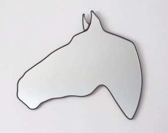 Horse Mirror Left / Handmade Wall Mirror Equestrian Cheval Pferd Caballo Modern Decor Stable Horse Shaped Wall Art