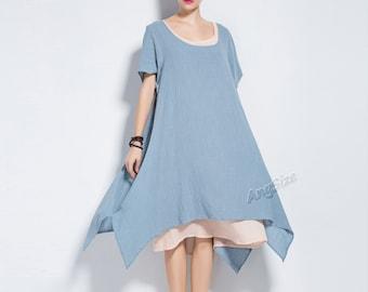 Anysize New Version fake two piece soft linen&cotton dress plus size dress Spring Summer dress plus size cothing Y75