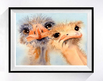 Watercolor Bird Art Bird Print, Coral ostrich watercolour painting, Funny bird artwork, Bird lover wall art, Humorus bird illustration b