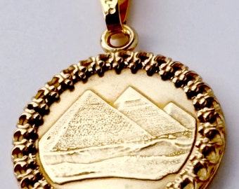 Egyptian Pyramids Gold Color Coin Ancient Egypt Jewelry,Necklace,Egyptian Charms Egyptian Jewelry Egyptian Necklace Pyramid 1984