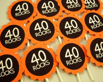 40th Birthday Cupcake Toppers - 40 Rocks Set of 12