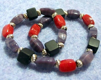 Black, Red and Purple Handmade Beaded Stretch Bracelet, Colorful Glass and Stone Bead Bracelet, Handmade Gift for Him