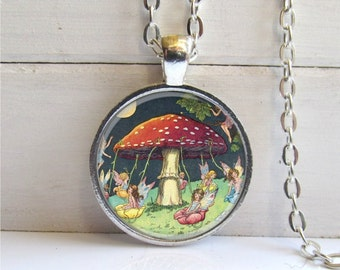 Mushroom Pendant, Mushroom with Fairies, Mushroom Necklace, Glass Dome Art Pendant