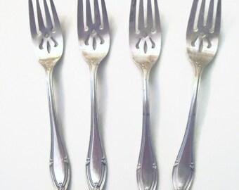 Gorham Providence Salad Dessert Forks. Set of 4 Silverplate Salad / Dessert Forks. Gorham Silverplate Forks, Vintage Silverplate Silverware.