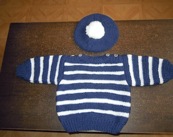 Sailor sweater and beret set size 12 months