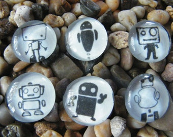Robot Doodles Glass Pebble Magnets