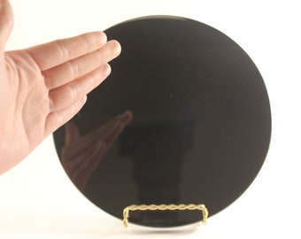 "Scrying Mirror Magick Divination Wicca Pagan Uses 8"" Diameter by 5/16"" Thick Solid Obsidian Stone Round Mirror"