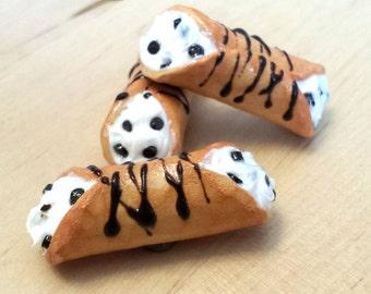 Miniature Cannoli Italian Dessert Clay Magnet Set