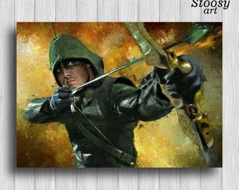 green arrow print superhero poster justice league art dc comics