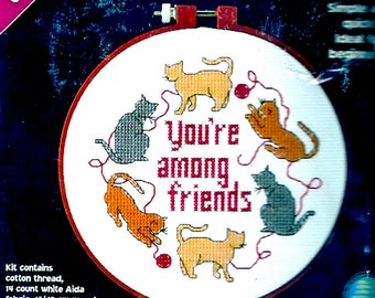 Youre among Friends kit Learn A craft Dimensions 72663 Cats Needlepoint kit for Beginners unopened