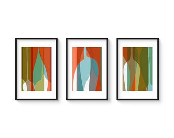FREE FORM Set no.1 - Collection of (3) Giclee Prints - Mid Century Modern Abstract Vessels Print Set