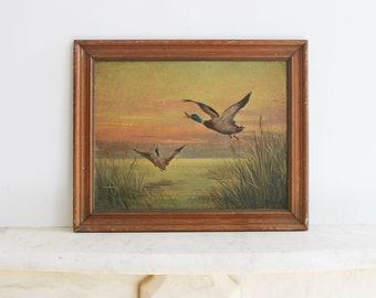 Signed Jan Nosek Oil Painting, Ducks, Water, Landscape, Ringoes NJ, Listed Artist