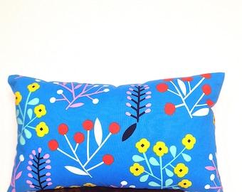 Floral Cushion. Scandinavian Pillow. Marimekko. Wildflower Design. Blue Throw Pillow. Yellow Orange Pink Pressed Flowers. Blue Home Decor.