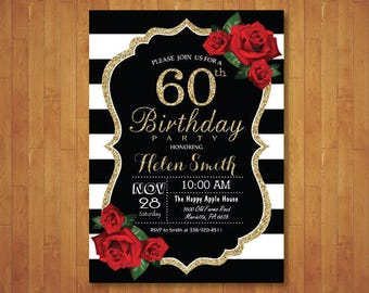 60th Birthday Invitation for Women. Red Roses. Black and White Stripes. Gold Glitter. 30th 40th 50th 70th 80th Any Age. Printable Digital.