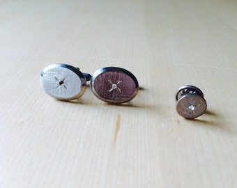 Vintage Rhinestone Brushed Silver Oval Cufflinks and Tie Tack Set