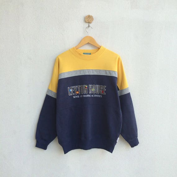 Vintage Leyton House Multicolor Sweatshirt Embroidery Spellout Nice Design // Leyton House rVgS1l