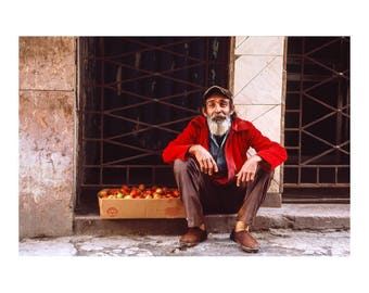 Apple Seller, The Streets of Old Havana, Cuba, Signed Art Print / Cuban Street Seller
