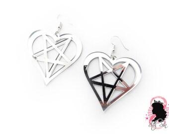 Silver Mirror Acrylic Heartagram Earrings, Silver Acrylic Heart Pentagram Earrings, Silver Acrylic Heartagram Earrings, Silver Mirror Heart